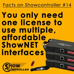 You only need one license and use multiple, affordable ShowNET interfaces