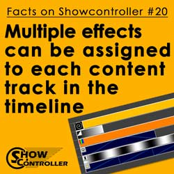 Multiple effects can be assigned to each content track in the timeline