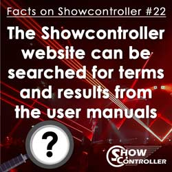 The Showcontroller website can be searched for terms and results from the user manuals will show