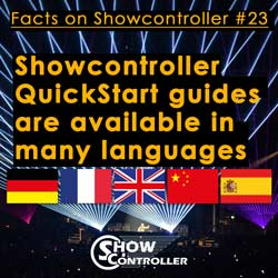 Showcontroller QuickStart guides are available in many languages (EN, FR, ES, CN)