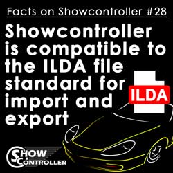 Showcontroller is compatible to the ILDA file standard for import and export