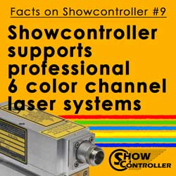 Showcontroller supports professional 6 color channel laser systems